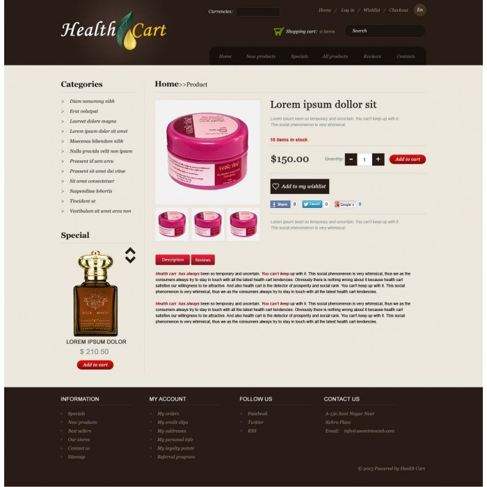 Health - Cart Ecommerce HTML Theme - Template