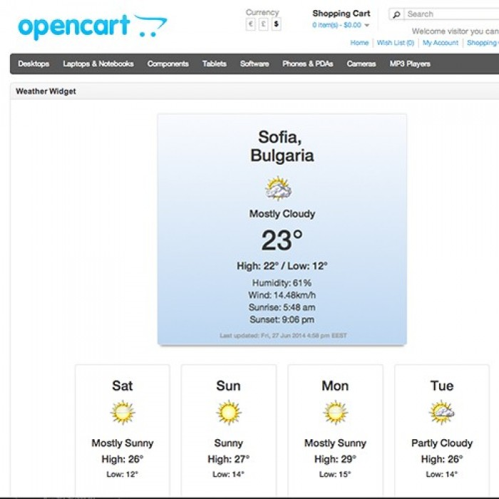 Weather Widget - Yahoo Powered Weather Forecast